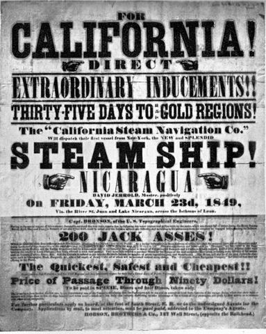 california gold rush 1849. Gold Rush Handbill